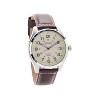 Seiko SKA723P1 Stainless Steel Kinetic Brown Leather Strap Watch  W2518