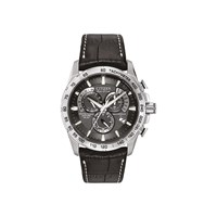 Citizen AT4000-02E Stainless Steel Chronograph Eco-Drive Black Leather Strap Watch - W3864