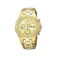 Pulsar PF8174X1 Gold Plated Chronograph Stone Set Bracelet Watch - W4208