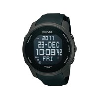 Pulsar PQ2011X1 Black Ion Plated LCD Digital Watch - W4230