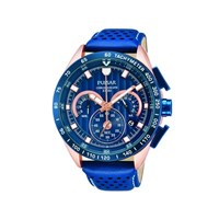 Pulsar PU2082X1 Rose Gold Plated Blue Leather Strap Watch - W4231