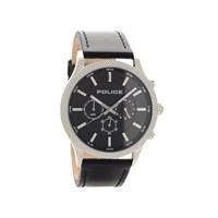 Police PL15002JS02 Stainless Steel Black Leather Strap Watch - W43105