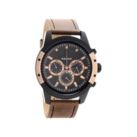 Police 14528 Scrambler Ionic Finish Chronograph Brown Leather Strap Watch - W4347