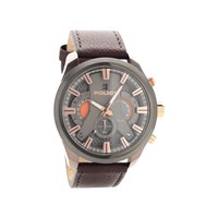 Police Cyclone Chronograph Brown Leather Strap Watch - W4472