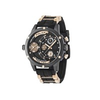 Police Adder Chronograph Rose Gold Tone Black Resin Strap Watch - W4478
