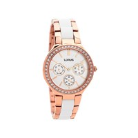 Lorus RP630CX9 Rose Gold Plated White Enamel Stone Set Bracelet Watch - W5746