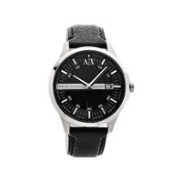Armani Exchange AX2101 Stainless Steel Black Leather Strap Watch - W6206