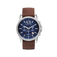 Armani Exchange AX2501 Stainless Steel Brown Leather Strap Watch - W6211