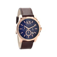 Armani Exchange AX2508 Rose Gold Plated Brown Leather Strap Watch - W6223
