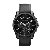 Armani Exchange AX2098 Black Ion Plated Chronograph Black Leather Strap Watch - W6287