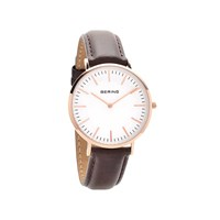Bering 13738-564 Rose Gold Plated Brown Leather Strap Watch - W7430