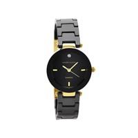 Anne Klein AK/N1464BKGB Gold Plated Diamond Set Black Ceramic Bracelet Watch - W8011