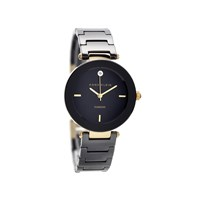 Anne Klein AK/N1018BKBK Gold Plated Diamond Set Black Ceramic Bracelet Watch - W8032