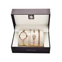 Anne Klein AK/1470RGST Rose Gold Plated Watch And Bracelets Gift Set - W8040