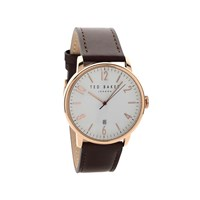 Ted Baker TE10030651 Daniel Rose Gold Plated Brown Leather Strap Watch - W82141