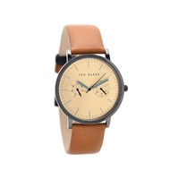 Ted Baker TE1094 James Grey Ion Plated Tan Leather Strap Watch - W8255