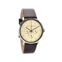 Ted Baker TE10023493 Stainless Steel Brown Leather Strap Watch - W8260