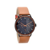 Ted Baker TE10023490 Black Ionic Finish Tan Leather Strap Watch - W8261