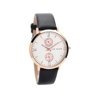Ted Baker TE10024713 Rose Gold Plated Black Leather Strap Watch - W8283