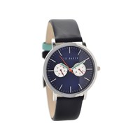 Ted Baker TE10024785 Stainless Steel Black Leather Strap Watch - W8291