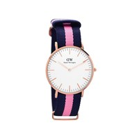 Daniel Wellington 0505DW Winchester Blue And Pink Fabric Strap Watch - W8808