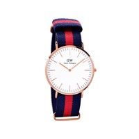 Daniel Wellington 0101DW Oxford Rose Gold Plated Red And Blue Fabric Strap Watch  W8812