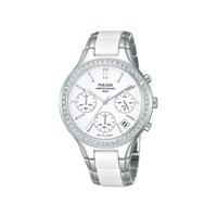 Pulsar PT3305X1 Stone Set Chronograph Ceramic Bracelet Watch - W9424