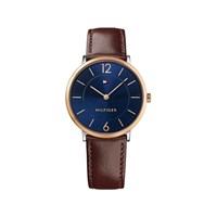 Tommy Hilfiger 1710354 James Rose Gold Plated Brown Leather Strap Watch - W9571