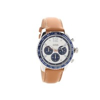 Guess Fleet Stainless Steel Chronograph Tan Leather Strap Watch - W96101