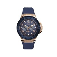 Guess W0247G3 Rigor Rose Gold Plated Blue Resin Strap Watch - W9671