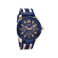 Guess W0366G4 Oasis Rose Gold Plated Blue Silicon Strap Watch - W9673