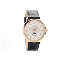 Guess Delancy Rose Gold Plated Moonphase Black Leather Strap Watch - W9837