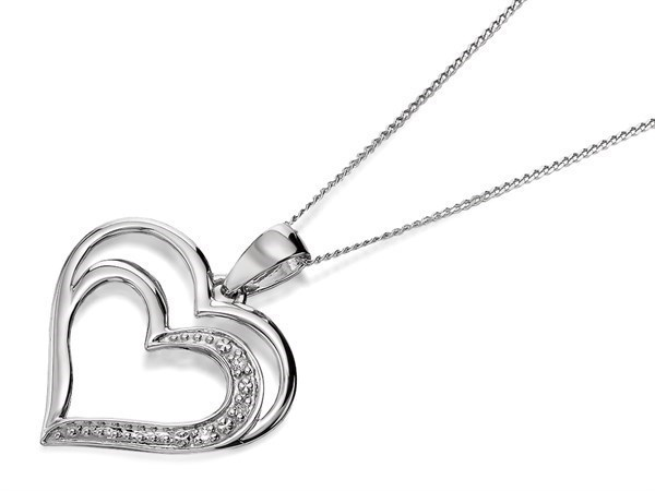 9ct White Gold Diamond Double Heart Necklace - D5619