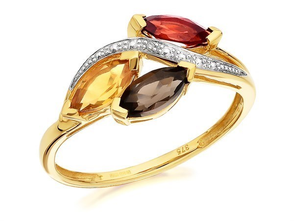 9ct Gold Garnet, Smoky Quartz, Citrine And Diamond Ring - D8442