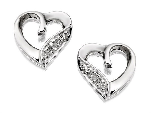 9ct White Gold Diamond Heart Stud Earrings - D9636