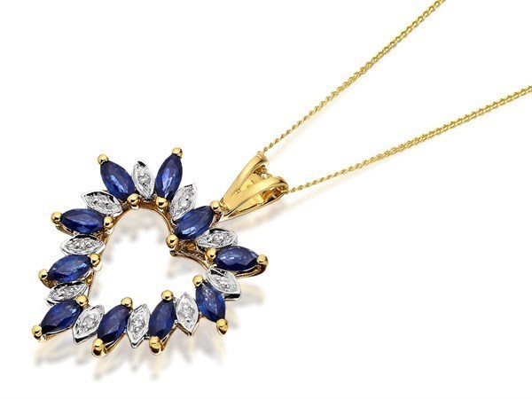 9ct Gold Sapphire And Diamond Heart Necklace - D9749