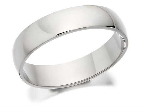 Palladium 950 D Shaped Wedding Ring - 4mm - R12153