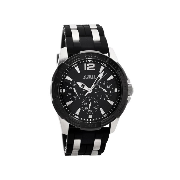 Guess W0366G1 Oasis Stainless Steel Black Silicon Strap ...