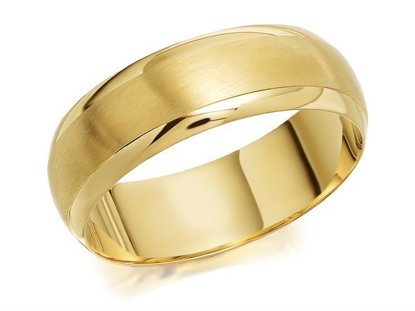 9ct Gold Satin And Polished Wedding Ring - 6mm - Size S Only - Z05090
