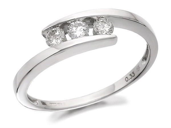 9ct White Gold Diamond Trilogy Crossover Ring - 1/3ct - Size F Only - Z50109