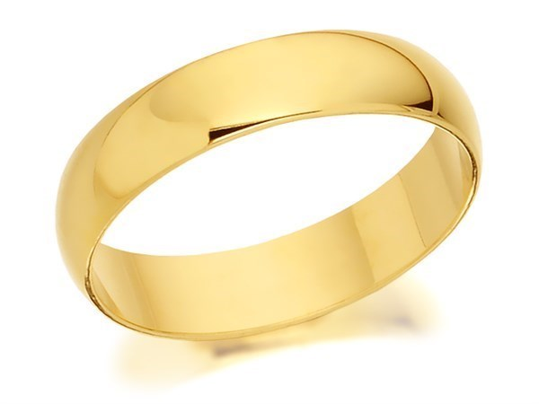 18ct Gold D Shaped Wedding Ring - 4mm - Size U Only - Z50302