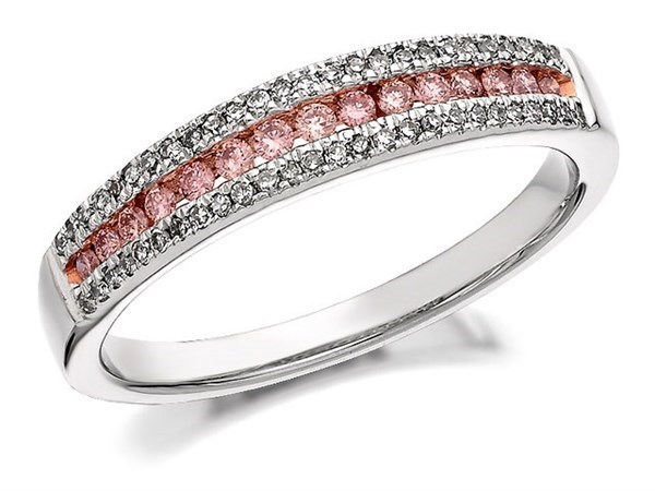 9ct Gold Two Colour One In A Million Pink Diamond Band Ring - 1/3ct - Size I Only - Z50371