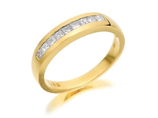 18ct Gold Princess Cut Diamond Half Eternity Ring - 1/3ct - Size T Only - Z50384