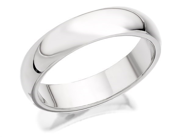 18ct White Gold Heavyweight D Shaped Wedding Ring - 4mm - Size M Only - Z50393