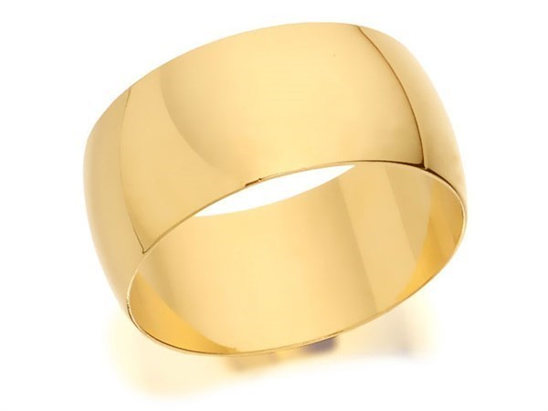 9ct Gold D Shaped Wedding Ring - 9mm - Size O Only - Z50397