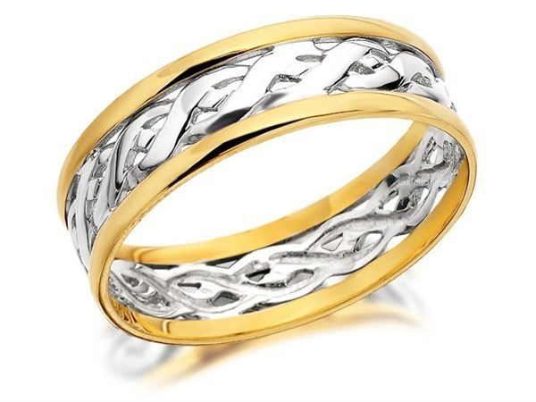9ct Two Colour Gold Weave Wedding Ring - 7mm - Size Z+2 Only - Z50407