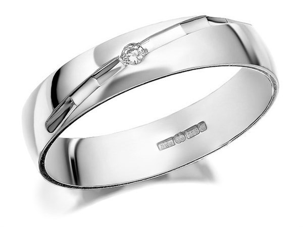 9ct White Gold Diamond Set Wedding Ring - 4mm - Size U Only - Z50425