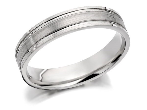 9ct White Gold Brushed Finished Wedding Ring - 4mm - Size T Only - Z50428