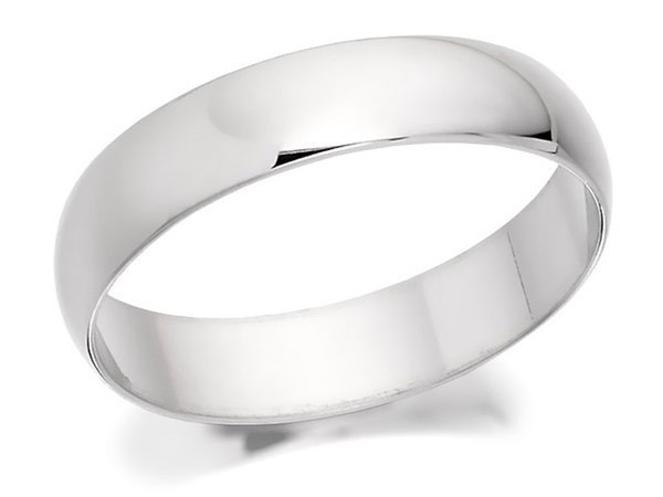 9ct White Gold Heavyweight D Shaped Wedding Ring - 4mm - Size T Only - Z50433