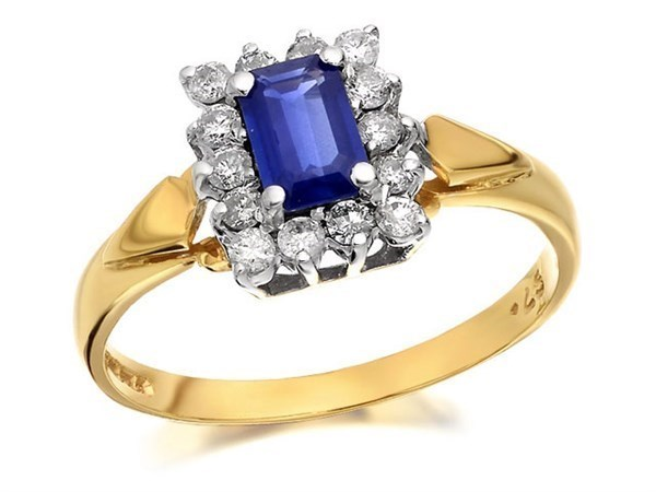 9ct Gold Diamond And Sapphire Cluster Ring - 1/4ct - Size I Only - Z50446